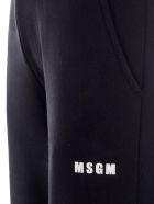 MSGM Logo Print Sweatpants - BLACK