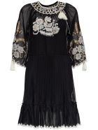 RED Valentino Mesh Dress With Floral Embroidery - Black