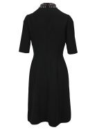 Prada Fitted Embroidered Dress - BLACK