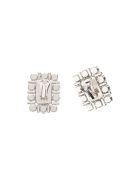 Alessandra Rich Square Crystal Clips Earrings - CRYSTAL SILVER (Silver)