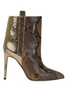 Paris Texas Snake Metal Ankle Bootie - Camel/gold