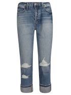 Frame Distressed Straight Leg Jeans - Blue