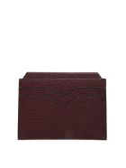 Valextra Bordeaux Cardholder In Pebbled Leather Texture - Red