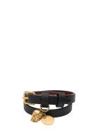 Alexander McQueen Double Wrap Bracelet With Skull - Nero