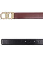 Salvatore Ferragamo Reversible Leather Belt - Burgundy