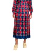 Gucci Pleated Printed Silk Crepe De Chine Midi Skirt - Red