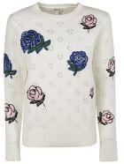 Kenzo Embellished Flower Sweater - white