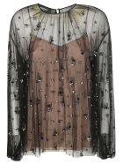 Rochas See-through Embellished Blouse - Black
