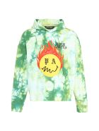Palm Angels Cotton Hoodie With Embroidered Logo Patch - green