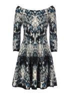 Alexander McQueen Long Sleeves Dress - Blue Black Ivory