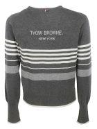 Thom Browne Striped Trim Sweater - GREY