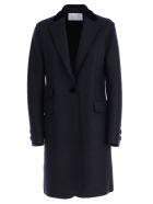 Harris Wharf London Coat Single Breasted Velvet Collar - Navy Blue