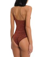 Oseree Maillot One Shoulder Lurex Swimsuit - Marrone