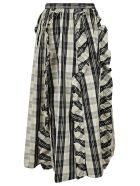 RED Valentino Ruffle Applique Checked Skirt - White/Black