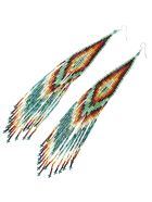 Jessie Western Long Beaded Earring - Multicolor/green