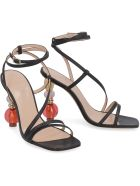 Jacquemus Bordighera Leather Sandals With Sculpture Heels - black