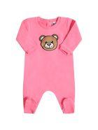 Moschino Fuchsia Babygrow For Babygirl With Teddy Bear - Fuchsia