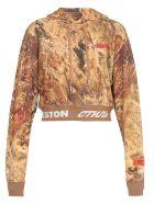 HERON PRESTON Cotton Crop Sweatshirt - MULTICOLOR RED