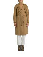 Parosh Lex Hooded Coat With Belt - Beige
