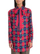 Gucci Gucci Gg Waves Tie-neck Blouse - Red