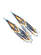 Jessie Western Long Beaded Earring - Multicolor/blue