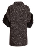 Bully Coat With Fur Sleeves In Black - NERO