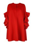 Valentino Wool Coat With Maxy Rouche/cappa Ruches - Red