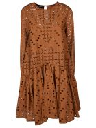 Rochas Perforated Midi Dress - Rust