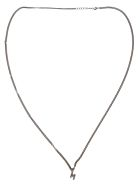MSGM Classic Crystal Logo Necklace - Silver
