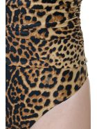 Saint Laurent One-shoulder Draped Leopard Print Swimsuit - Leopard