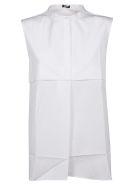 Jil Sander Navy Collarless Sleeveless Shirt - Basic