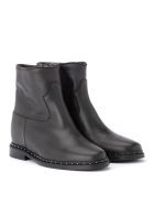 Via Roma 15 Black Rome 15 Leather Ankle Boots With Applied Micro-studs - NERO