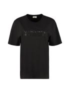 Saint Laurent Logo Print Cotton T-shirt - black