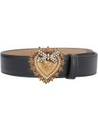 Dolce & Gabbana Devotion Leather Belt With Embellished Buckle - black