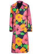 Junya Watanabe Comme Des Garçons Coat High Neck Double Breasted Flower Print - Pink Yellow Blue Black