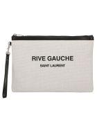 Saint Laurent Rive Gauche Pouch - Lino bianco/nero