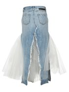 Ben Taverniti Unravel Project Unravel Distressed Tulle Long Skirt - LIGHT BLUE
