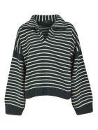 Jejia Stripe Knit Oversized Pullover - Green/White