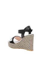 Pollini Rope Wedege Sandals With Crystals Applications - Blu
