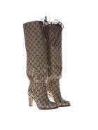 Gucci Gg Supreme Beige & Emoby Over-the-knees Boots - Beige/ebony