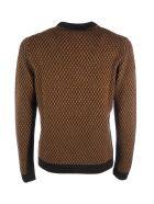 Prada Long Sleeves Crewneck Bicolor Sweater - S Black Tabacco