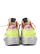 Golden Goose Running Sole Sneakers In Scaled Effect Leather - Black/silver/white
