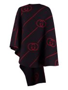 Gucci Asymmetric Wool Cape - BLUE/RED