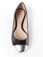 Anna Baiguera Logo Detail Ballerinas - Silver Natur Black