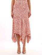 Ganni Asymmetric White Skirt - Red