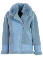 Blancha Jacket Leather Over W/fur Neck - Denim