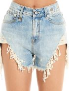 R13 'shedded Slouch' Shorts - Light blue