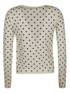 RED Valentino Lip Embroidered Polka-dot Cardigan - Ivory