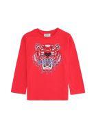 Kenzo Kids Tiger Print Cotton T-shirt - red