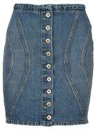 Marcelo Burlon Buttoned Denim Skirt - LIGHT BLUE WASHED